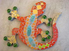 Mosaic Gecko Lizard Wall Plaque Red Orange Gold Turquoise