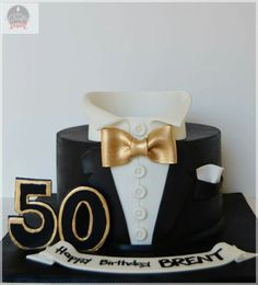 Black And Gold Tuxedo Cake Ideas Birthday 50th Cakes For