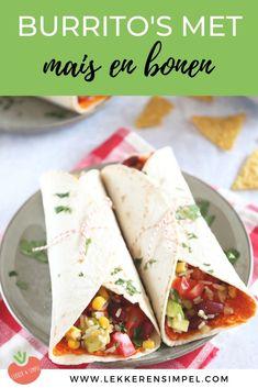 Burrito's met mais en bonen - super snel recept dat binnen 20 minuten op tafel staat. Zelf zijn we gek op Mexicaanse recepten en vooral op burrito's. Deze vegetarische en gezonde variant is erg goed in de smaak gevallen! Klik op de foto om het recept te bekijken. Mexican Food Recipes, Italian Recipes, Healthy Recipes, Ethnic Recipes, Burritos, Taco Wraps, Tapas, Wrap Sandwiches, Feta