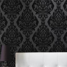 Ideas For Damask Wallpaper Bedroom Black Powder Rooms Flock Wallpaper, Velvet Wallpaper, Gothic Wallpaper, Damask Wallpaper, Bedroom Wallpaper, Brown Wallpaper, Wallpaper Samples, Black Wallpaper For Walls, Office Wallpaper