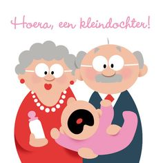 Opa en oma met kleindochter- Greetz Happy Wishes, Grandchildren, Qoutes, Minnie Mouse, Baby Boy, Happy Birthday, Disney Characters, Cards, Printables