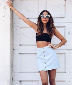 Skirt: bandeau ashley madekwe blogger sunglasses summer top summer outfits instagram denim button up