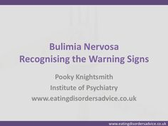 Bulimia-warning-signs: People with bulimia are often very ashamed of their illness and will work hard to conceal signs and symptoms making it very difficult to spot. ...