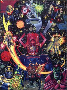Trading card art of the stars of Marvel's Infinity events, including Adam Warlock, Silver Surfer, Quasar, Galactus, Thanos and more!