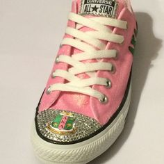 Alpha Kappa Alpha Glitter and Crystal Custom Converse