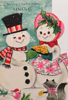 A personal favorite from my Etsy shop https://www.etsy.com/listing/475388624/vintage-christmas-card-pink-and-aqua