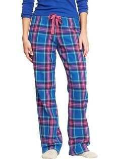 NWT WOMENS OLD NAVY BLUE PINK PLAID FLANNEL LOUNGE PAJAMA PANTS XS S M L #OldNavy #LoungePants