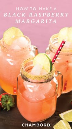 Give your favorite fiesta drink a fruity kick this summer thanks to this recipe for Black Raspberry Margaritas. Gather around your girlfriends for a cook-out and sip on this sweet cocktail combination of Chambord®️️️ Liqueur, el Jimador®️️️ Silver tequila, fresh lime juice, and pomegranate juice!