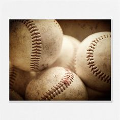 Baseball Picture - Baseball Photography - Sports Decor - Man Cave - Rustic, Brown, tan, baseballs - Boys room, office decor - 8x10.. $28.00, via Etsy.