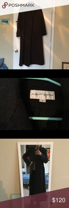 """Albert Nippon wool full-length coat Heathered black wool coat in new condition! This is so cute- I'm 5'3"""" and it goes to my ankles. Albert Nipon Jackets & Coats Pea Coats"""