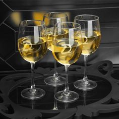 Designed to accentuate the characteristics of white vintages, our personalized White Wine Quartet is a must-have for the wine lover. Gracefully shaped but sturdy, these lovely wine glasses include a contemporary script-style initial monogram and are ideal Personalized Wine Glasses, Personalised Wine, Personalized Items, Personalized Wedding, Anniversary Gifts For Parents, Anniversary Ideas, Wedding Anniversary, White Wine Glasses, Doja Cat