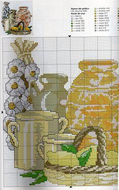Cross Stitch Fruit, Cross Stitch Kitchen, Cross Stitch Designs, Cross Stitch Patterns, Stitch 2, Cross Stitching, Needlepoint, Needlework, Diy And Crafts