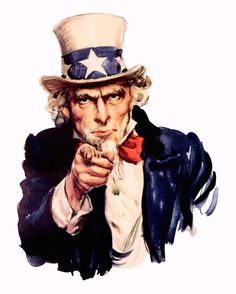 UNCLE SAM POINTING RECRUIT WWII PROPAGANDA POSTER PAINTING REAL CANVAS ART PRINT #Realism