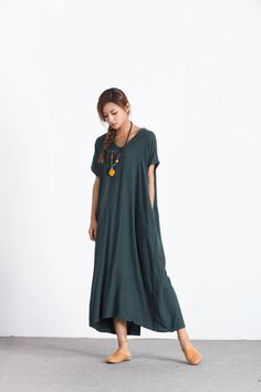 Women's linen maxi dress loose linen cotton kaftan oversize bridesmaid dress large size dress plus size clothing custom made clothing A89 by Youga on Etsy https://www.etsy.com/listing/482011415/womens-linen-maxi-dress-loose-linen