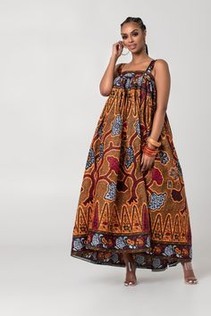 Beige Wedding Flower Wallet Dress by bazara-pagne - Long dresses - Afrikrea African Print Shirt, African Print Clothing, African Print Dresses, African Print Fashion, African Dress, African Prints, African Hair, African Women, Top Mode