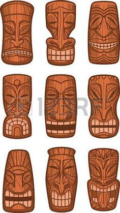 Hawaiian statue de dieu tiki sculpt tikki polyn sien ku lono vecteur de bois illustration  Banque d'images