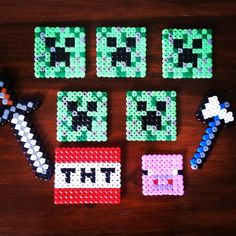 use pony beads and an iron to lay out swords and creepers etc. Iron over the pony beads until they are stuck to together and make items into key chains for favors.
