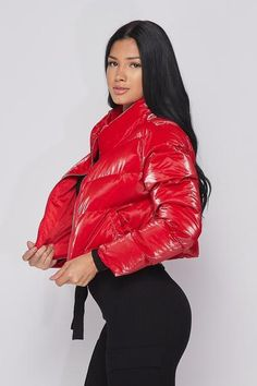 Crop Long Sleeve Jacket Jacket Has front zipper and front pocket Puffer Jackets, New Outfits, Natural Hair Styles, Leather Jacket, Zipper, Lady, Long Sleeve, Sleeves, Fashion