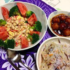 今日は暑かったのでサラダ! - 8件のもぐもぐ - ビーンズサラダ。春雨サラダ。肉団子。 by MikarinkoJ8e