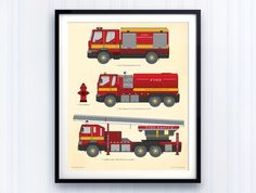 Red FIRE TRUCK wall print for boys rooms or nurseries