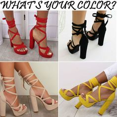 Lace-up Block High Heels