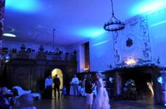 Blue uplighting in the Saloon at Dorton House, Aylesbury for a spring wedding Mood Light, Event Lighting, Fairy Lights, Spring Wedding, Lanterns, House, Home, Lamps