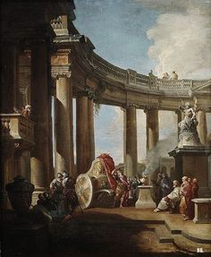 Alexander the great and the Gordian knot. Giovanni Paolo Panini. Italian. 1691-1765. oil on canvas.