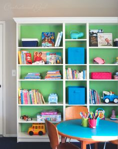 """3 Billy bookcases from Ikea. Painted the back of the bookcases """"Green Lane"""" paint by Glidden"""