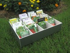 DIY seed box from foam core (hello dollar-store crafts! cover with that cute . DIY seed box from Veg Garden, Garden Seeds, Planting Seeds, Potager Garden, Veggie Gardens, Vegetable Gardening, Garden Tips, Dollar Store Crafts, Dollar Stores