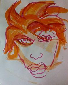 Girl with orange hair by Ivica Capan - TRiCERA Big Hair, Art Girl, Girl Hairstyles, Original Artwork, Contemporary Art, Ink, Orange, News, Artist
