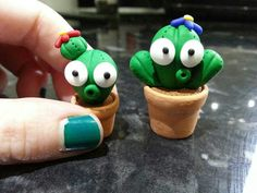 Dee Raa Arts cacti cactus polymer clay sculpey fimo premo plant pot cute cartoon miniature dolls house