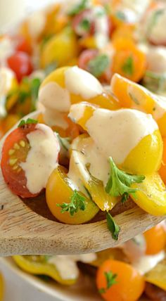 Herbed Cherry Tomato Salad. Tried it. Yummy, but add diced zucchini and minced red onion.