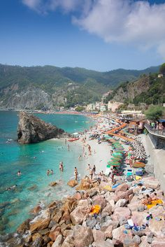 strolled the beautiful beach of Monterosso in the Cinque Terre, Italy. visit during the off-season for less crowds.