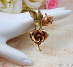 Vtg KREMENTZ Rose & Yellow Gold Filled DBL Rose Brooch Pin #Krementz
