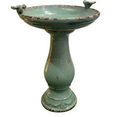 Alpine 25 in. Turquoise Antique Ceramic Birdbath-TLR102TUR - The Home Depot--$109
