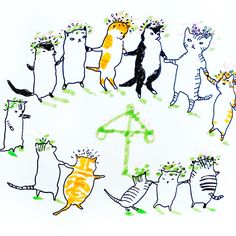 Midsummer cats by Marie Åhfeldt, Mås Illustra. www.masillustra.se #midsummer #midsommar #cat #illustration #masillustra
