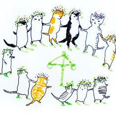 Midsummer cats by Marie Åhfeldt, Mås Illustra. www.masillustra.se #midsummer #midsommar #cat #illustration #masillustra