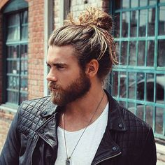 Man Bun with Long Hair and Beard