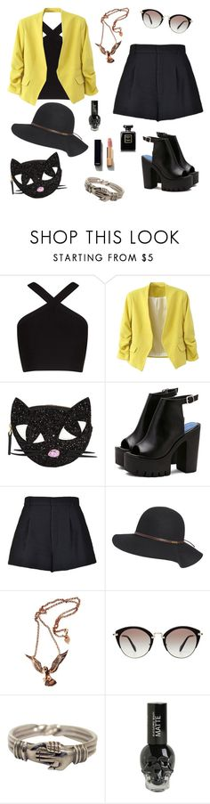 """Black and Yellow"" by thereclusiveblogger ❤ liked on Polyvore featuring BCBGMAXAZRIA, Lulu Guinness, WithChic, RED Valentino, Billabong, Hjälte Jewellery, Miu Miu, Hot Topic and Chanel"