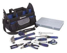 KOBALT TOOL SET Renters and homeowners alike benefit from having a basic tool set handy for quick fixes around the home. The 22-piece Kobalt household tool set ($50 at Lowe's) comes in a tool bag and features a hammer, wrench, scissors, tape measure, saw, screwdriver, knife, and three pliers. Under the brand's lifetime hassle-free guarantee, the tools can be returned for a free replacement, no questions asked.