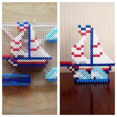 Perler beads sailboat. Want to sail around!