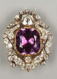 A mid 19th century amethyst and diamond brooch/pendant, circa 1840. #vintagejewelry