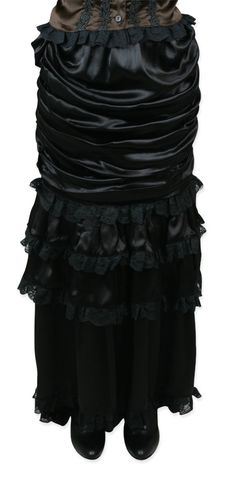 Wickfield Ruched Skirt - Black Satin [003982] (Outfit idea for wedding guests)