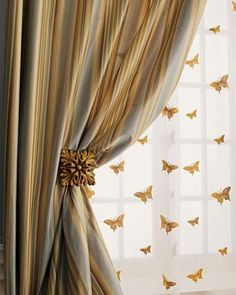 """""""Milano"""" Striped Curtains, Butterfly Sheers, & Holdbacks - Striped silk curtains are have rod-pocket styling and cotton linings. rod-pocket sheers of ivory silk organza are embroidered with golden butterflies Silk Curtains, Luxury Curtains, Striped Curtains, Curtains With Blinds, Drapery, Linen Curtain, Cream Curtains, Window Drapes, Room Window"""
