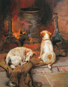 """""""Warming by the Hearth"""" by Philip Eustace Stretton, British animal & sporting painter, 1865-1919"""
