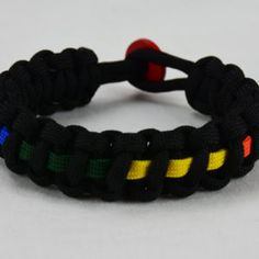 Black Gay Pride Paracord Bracelet w/ Rainbow Line