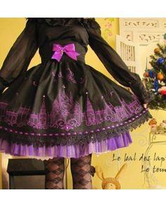 Black Gothic Moonlight Cathedral Lolita Skirt $61.99-Girls Cotton Skirts - My Lolita Dress
