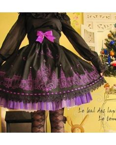 Black Gothic Moonlight Cathedral Lolita Skirt $61.99-Girls Cotton Skirts - My Lolita Dress