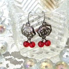Gun Metal Earrings with Rose Motif Design and Red by marilyn1545, $20.00
