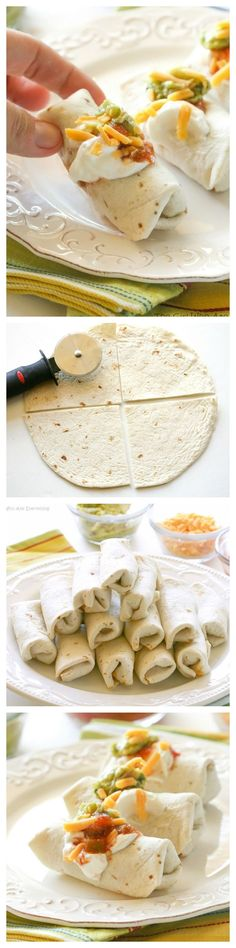 Mini Burritos for a modern high tea - they are filled with seasoned meat, beans, and cheese. Serve them as an appetizer and let your guests top their own. Finger Food Appetizers, Appetizer Recipes, Snack Recipes, Cooking Recipes, Party Appetizers, Mexican Appetizers, Tapas Recipes, Appetizer Ideas, Party Recipes